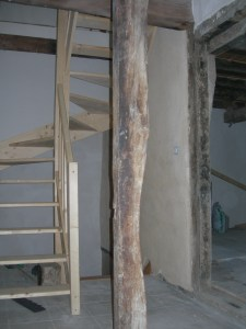 Pine staircase to attic