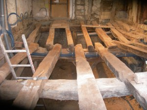 Old oak floor beams